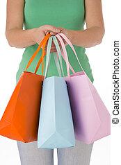 Bolsas, mujer, compras, tenencia