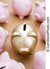 Golden Piggy Bank Among Many Pink Ones
