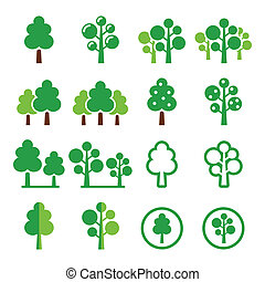 Trees, forest, park vector icons - Nature, trees icons set...