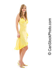 lovely girl in yellow dress over white