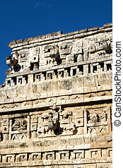 Temple Ruin at Chichen Itza - Crumbling facade of a Mayan...