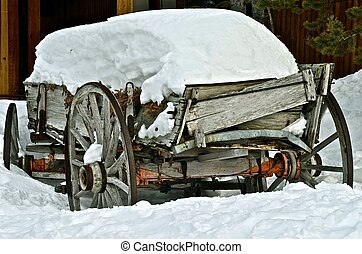 Wagon Covered with Snow