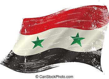 Syrian grunge flag - flag of Syria in the wind with a...