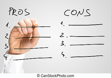 Man drawing up a list of pros and cons on a virtual...
