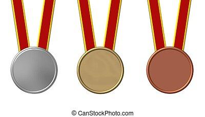 jogo, esportes, medalhas, isolado