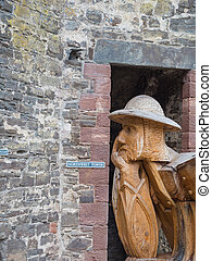 Wooden soldier at entrance of Conwy Castle, Wales - Wooden...