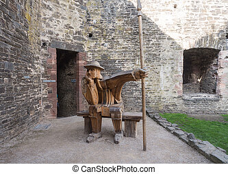 Wooden soldier at Conwy Castle, Wales - Wooden soldier at...