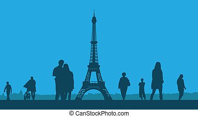 Paris. The Eiffel Tower on a blue b