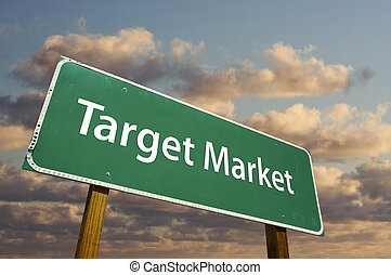 Target Market Green Road Sign with dramatic clouds and sky