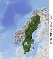 Sweden, shaded relief map - Sweden. Shaded relief map....