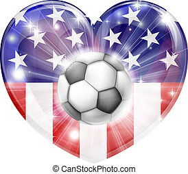 USA soccer heart flag - America soccer football ball flag...