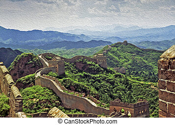oil painting stylized photo of the great wall of china -...