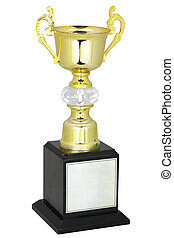 Champion gold trophy isolated on white,With clipping path