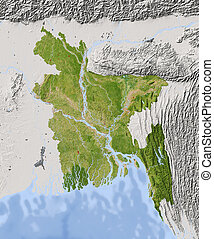 Bangladesh, shaded relief map - Bangladesh Shaded relief map...