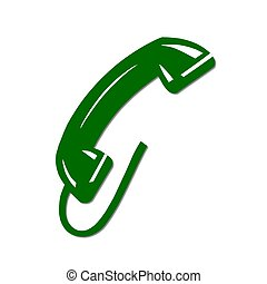 isolated phone receiver green