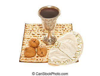 Matzoth, silver Kiddush cup walnuts - Matzoth, silver...