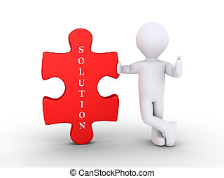 Person with a puzzle piece as solution - 3d person leaning...