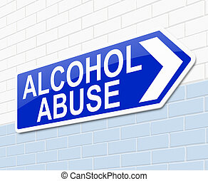 Alcohol abuse concept - Illustration depicting a sign with...