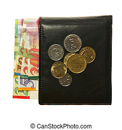 wallet with Israeli shekels - Black leather wallet with...