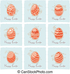 Decorated Easter eggs set
