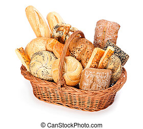 Baked goods - Fresh baked bread and pastry in wicker basket...