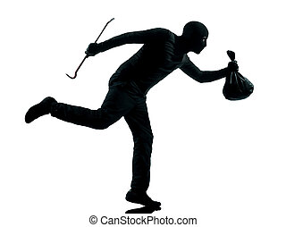 man thief criminal running silhouette - thief criminal...