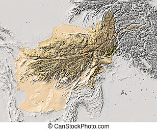 Afghanistan, shaded relief map - Afghanistan Shaded relief...