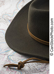 hat and map - wool felt western hat on a topography map...