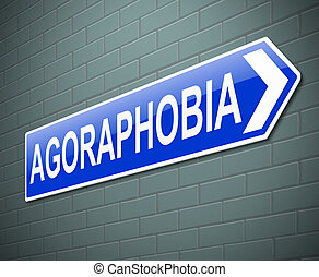 Agoraphobia concept. - Illustration depicting a sign with an...