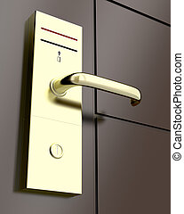 Electronic lock on door, 3d rendered illustration