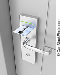 Electronic lock on door with keycard