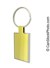 Golden key ring isolated on white background