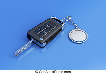 Car key with metal keyring on blue shiny background