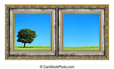 diptych with landscape isolated on white background, photo...