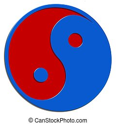 isolated ying yang sign red blue