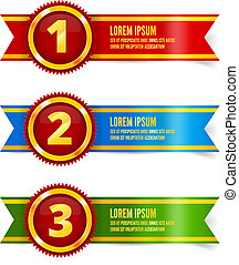Golden with red medals, first, second and third place,...