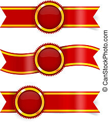 Vector set of red award ribbons