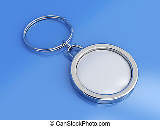 Key ring with space for text on blue background