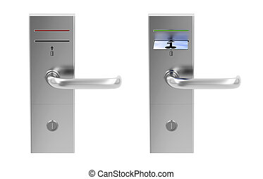 Keycard electronic locks isolated on white