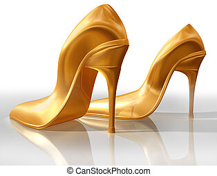 Gold high heels - Illustration of a pair of elegant gold...