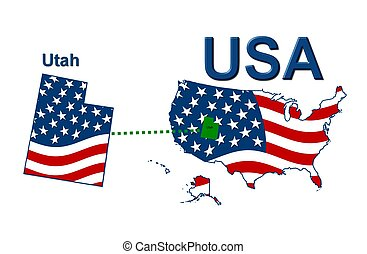 USA state of Utah in stars and stripes design
