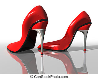 Red high heels - Illustration of a pair of elegant red high...
