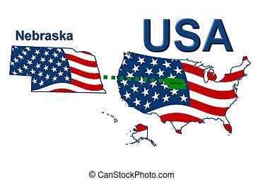 USA state of Nebraska in stars and stripes design