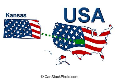USA state of Kansas in stars and stripes design