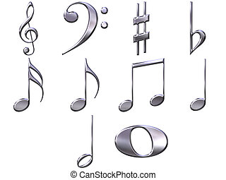 3D Silver Music Notes - 3d silver music notes isolated in...