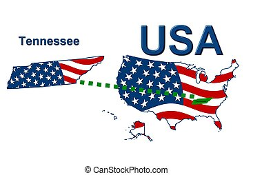 USA state of Tennesee in stars and stripes design
