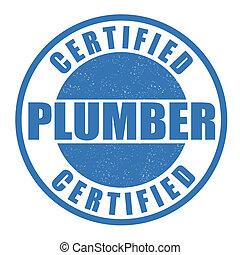 Certifié, plombier, timbre