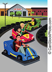 Family playing go-kart - A vector illustration of happy...