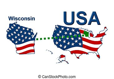 USA state of Wisconsin in stars and stripes design