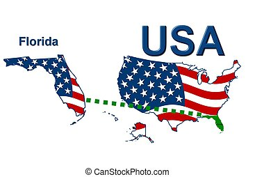 USA state of Florida in stars and stripes design